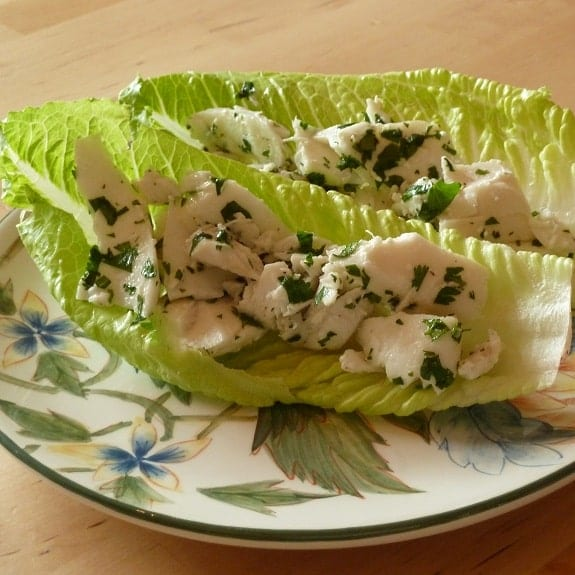 romaine-wrapped halibut fillets
