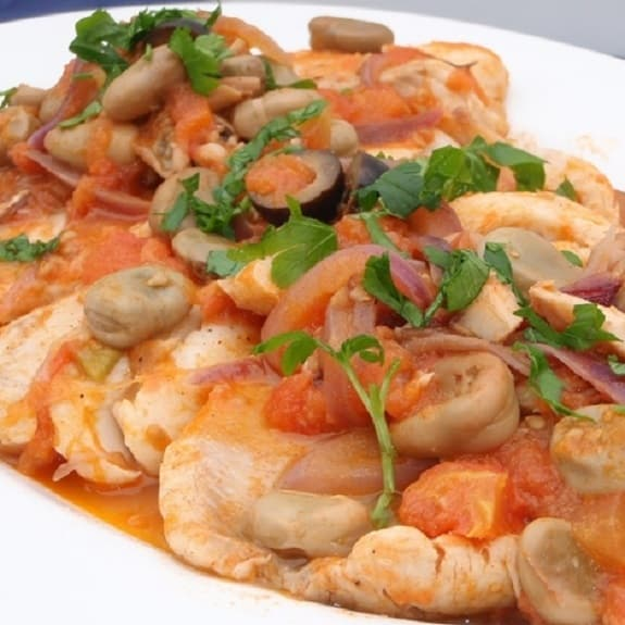 poached tilapia with tomato and beans