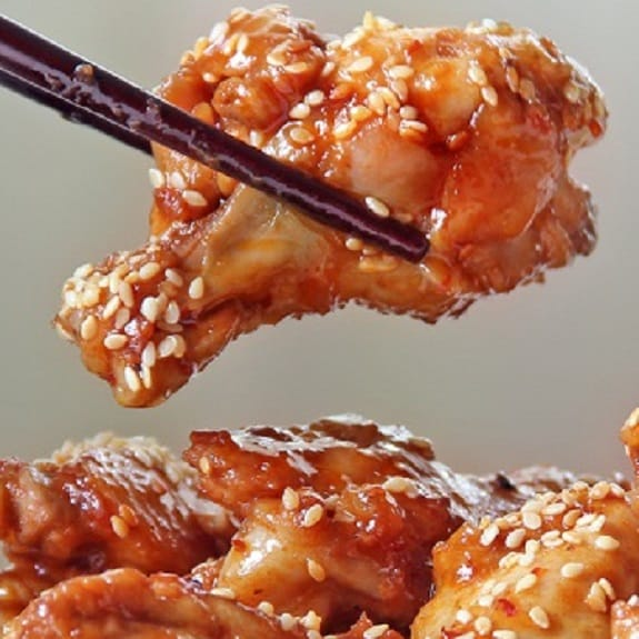 fried spicy sesame chicken wings