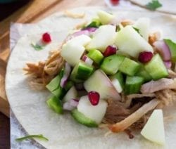 slow cooker carnitas with apple salsa #crockpot #slowcooker #dinner #homemade #carnitas #mexican #recipes #delicious