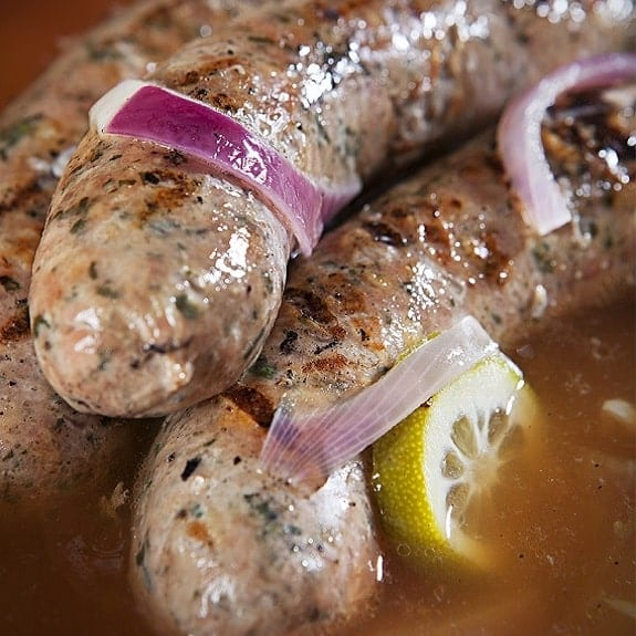 grilled bratwurst sausages with beer