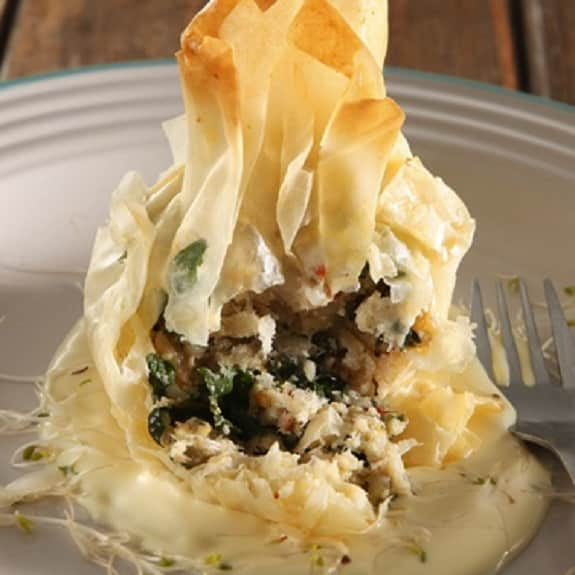baked fish phyllo parcels
