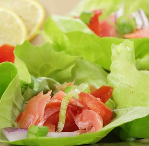 smocked salmon and pickled onion lettuce wraps