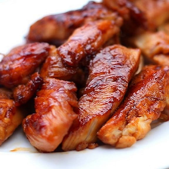 barbecued hot chicken strips