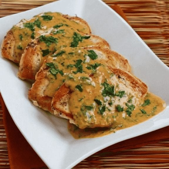 chicken breasts with cilantro and curry-peanut sauce