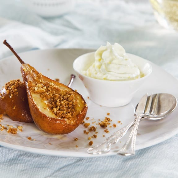 oven baked honey-ginger pears