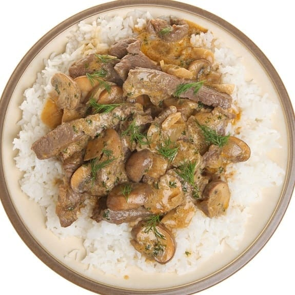 slow cooker creamy beef stroganoff with rice