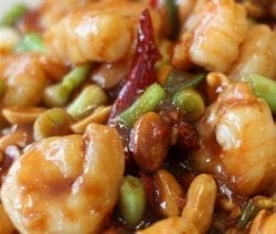 Kung Pao shrimp with cashew nuts. One of the best of all Sichuan dishes is called Kung Pao Chicken,a stir-fried dish made with bean sauce, chili paste with garlic, hot peppers, and fried peanuts. #shrimp #chinese #seafood #dinner #homemade #nuts #cashew