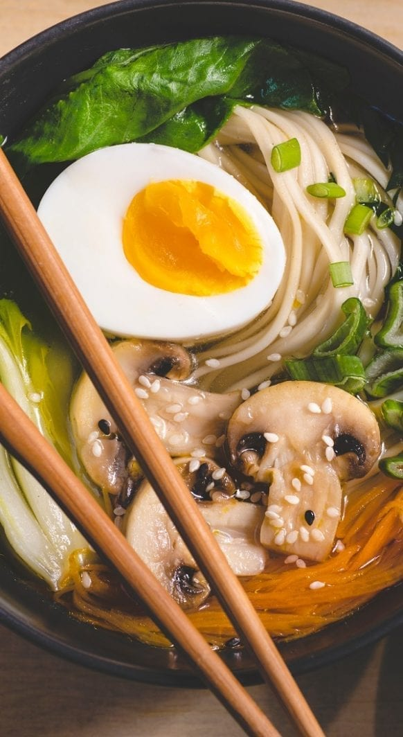 Slow cooker shiitake noodle soup. Very delicious Asian-style soup with mushrooms and noodles cooked in a slow cooker.#slowcooker #crockpot #shiitake #noodles #soup #dinner #homemade