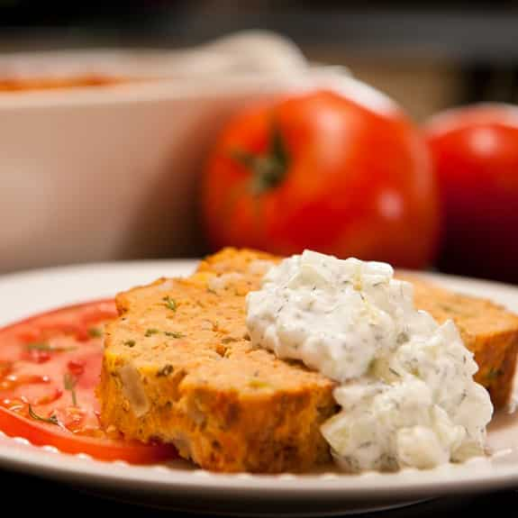slow cooker salmon loaf with cucumber dill sauce recipe