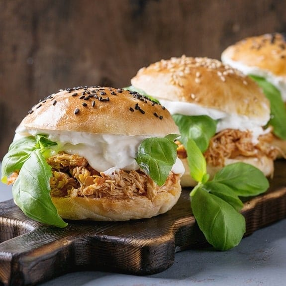 slow cooker creamy pulled chicken sandwiches recipe