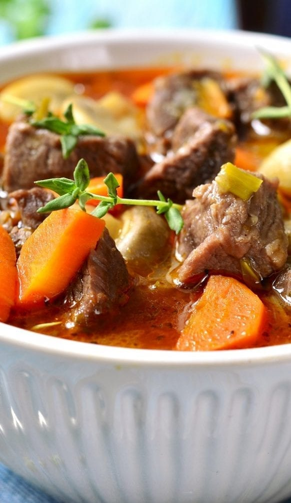 Pressure cooker lamb stew recipe. Cubed lamb shoulder with vegetables and mushrooms cooked in a stove top pressure cooker. #pressurecooker #instantpot #lamb #stew #dinner #homemade