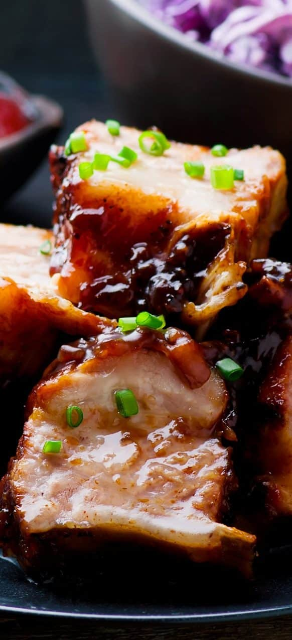 Pressure cooker country-style pork ribs recipe. Bone-in trimmed pork ribs with soy sauce, vegetables, mustard, and beer cooked in a pressure cooker. #instantpot #pressurecooker #dinner #pork #ribs #homemade