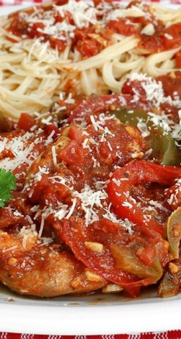 Easy Crockpot Chicken Cacciatore Recipe #slowcooker #crockpot #dinner #italian #chicken #homemade #lowcarb #healthy