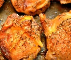 oven baked lemon-garlic chicken thighs recipe