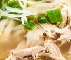 Instant pot chicken noodle soup recipe. Chicken drumsticks with herbs and vegetables cooked in a pressure cooker and served with pho noodles (Vietnamese noodles) and spices. #pressurecooker #instantpot #lowcarb #chicken #soup #healthy #noodle #homemade