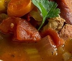 Pressure cooker chicken sausage gumbo stew recipe. Chicken thighs with andouille sausages, vegetables, and spices cooked in a pressure cooker. #pressurecooker #instantpot #chicken #sausage #stew #dinner #homemade