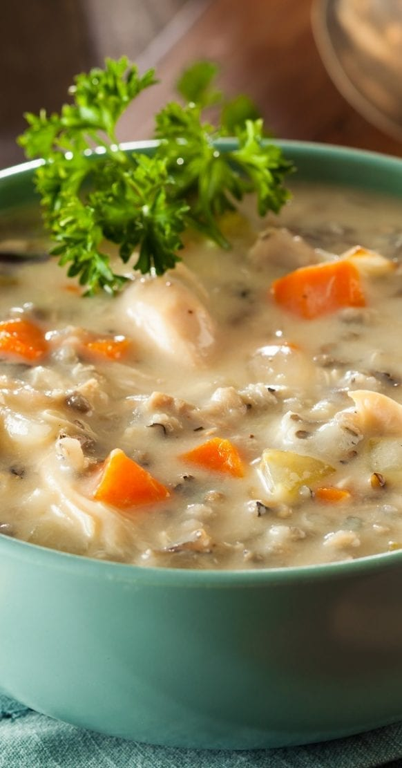 Crock pot chicken wild rice soup recipe. Chicken thighs with mushrooms, vegetables, spices, and wild rice cooked in a crock pot. Very easy and delicious chicken soup. #crockpot #slowcooker #chicken #soup #rice #dinner #easy #yummy #healthy #homemade