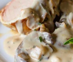 Instant pot creamy mushroom pork roasts recipe. Pork loin roast in an instant pot and served with delicious mushroom gravy. #pressurecooker #instantpot #pork #roast #dinner #creamy #mushroom #gravy