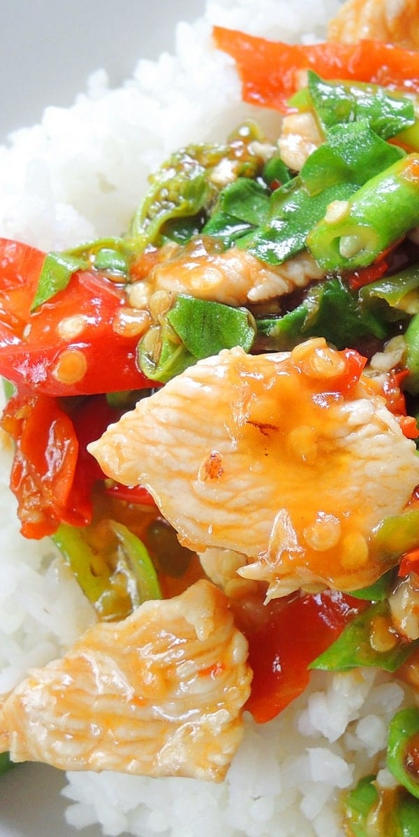 Slow Cooker Thai basil Chicken Recipe #slowcooker #crockpot #dinner #chicken #homemade #delicious #easy #food