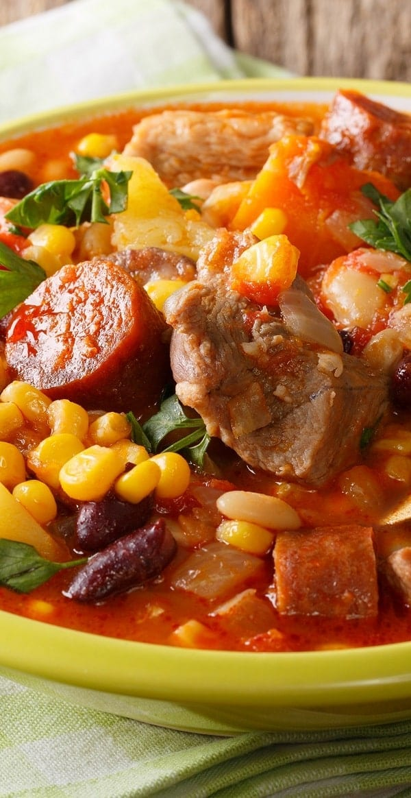 Slow cooker Cachupa stew recipe. Beans, vegetables, and pork cooked in a slow cooker. Easy and tasty. #slowcooker #crockpot #stew #dinner #homemade #yummy #easy