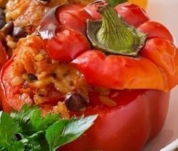 slow cooker rice and bean stuffed peppers