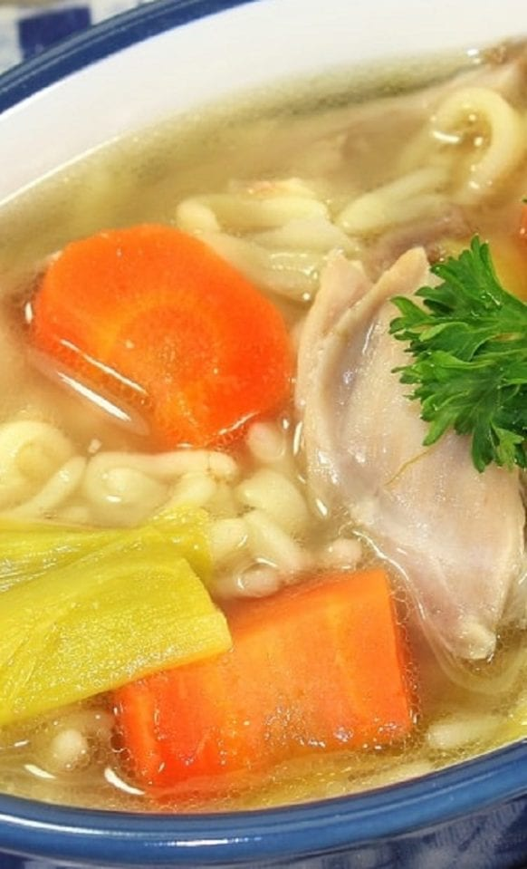 Slow cooker alphabet chicken soup recipe. Chicken breasts with vegetables and alphabet pasta cooked in a slow cooker. Yummy! #slowcooker #crockpot #chicken #pasta #soup #dinner #healthy