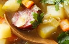 "Slow cooker German potato soup recipe. German potato soup with smoked sausages and cabbage also is known as "" Kartoffelsuppe"" cooked in a slow cooker. #slowcooker #crockpot #soup #dinner #potato #german #dinner #lunch #easy"