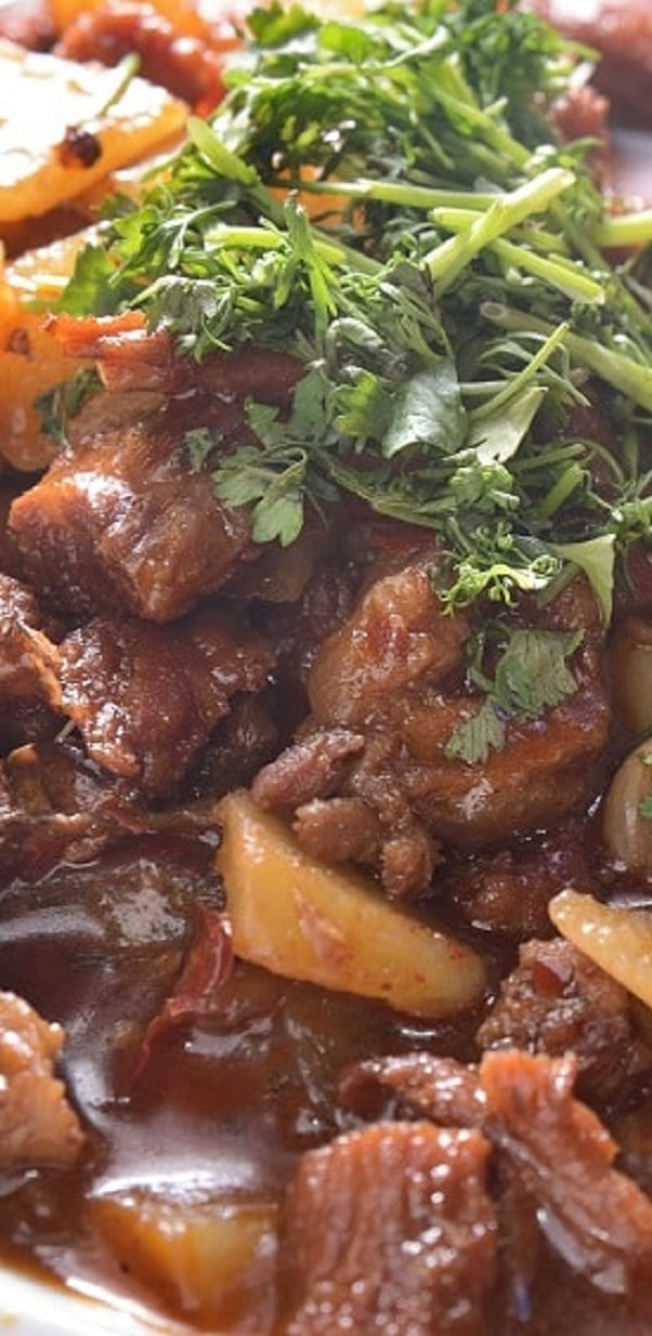 slow cooker shrried beef and mushroom stew recipe