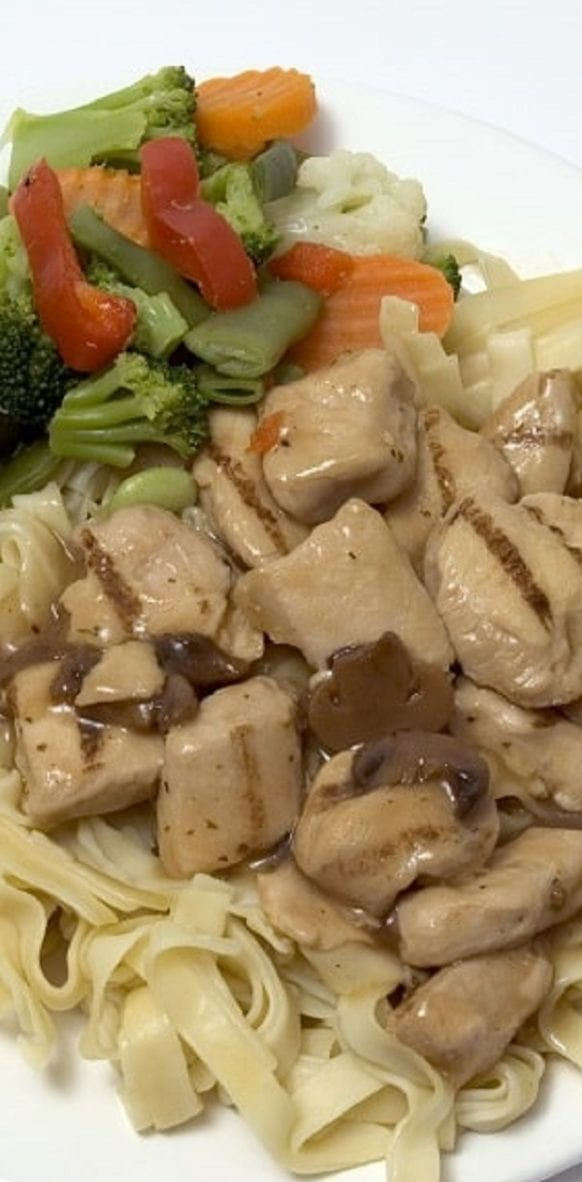 Slow cooker sherried chicken recipe. Chicken breasts with mushrooms, creamy mushroom soup, and dry sherry cooked in a slow cooker. Serve it over the cooked linguine to absorb flavorful juices. #slowcooker #crockpot #chicken #dinner #delicious #easy