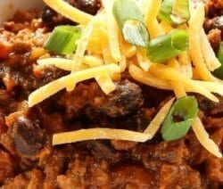 Pressure cooker beef-chorizo chili. Ground beef chuck with chorizo sausages, vegetables, and spices cooked in a power pressure cooker. #pressurecooker #instantpot #beef #dinner #chili