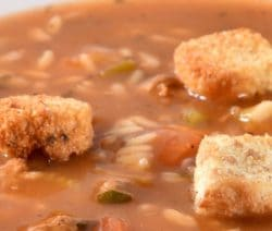 Slow cooker chicken Gumbo. Cubed chicken breasts with vegetables and spices cooked in a slow cooker. A delicious and easy hearty chicken stew that can not beat! #slowcooker #crockpot #soup #dinner #hearty #gumbo #chicken