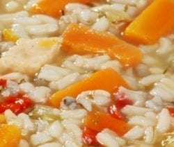 Slow cooker turkey soup recipe. Turkey breasts with wild rice and vegetables cooked in a 6-quart slow cooker. #slowcooker #crockpot #dinner #soup #turkey