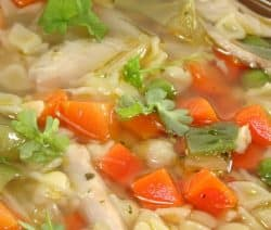 Slow cooker chicken-ginger soup recipe. Very nice combination of chicken, vegetables, ginger, and dry sherry cooked in a slow cooker. #slowcooker #crockpot #chicken #soup #dinner #healthy #diet #homemade