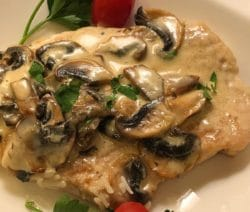 Slow cooker creamy mushroom chicken. Chicken breasts with mushrooms, creamy chicken soup, and chicken broth cooked in a slow cooker. #slowcooker #crockpot #creamy #mushroom #dinner #chicken