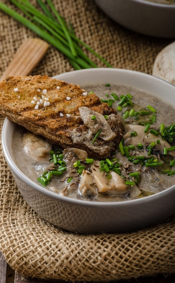 Slow cooker mushroom soup recipe. Low-calories, beef stock-based fragrant mushroom soup cooked in a slow cooker. Very easy and delicious! #slowcooker #crockpot #dinner #soup #mushrooms