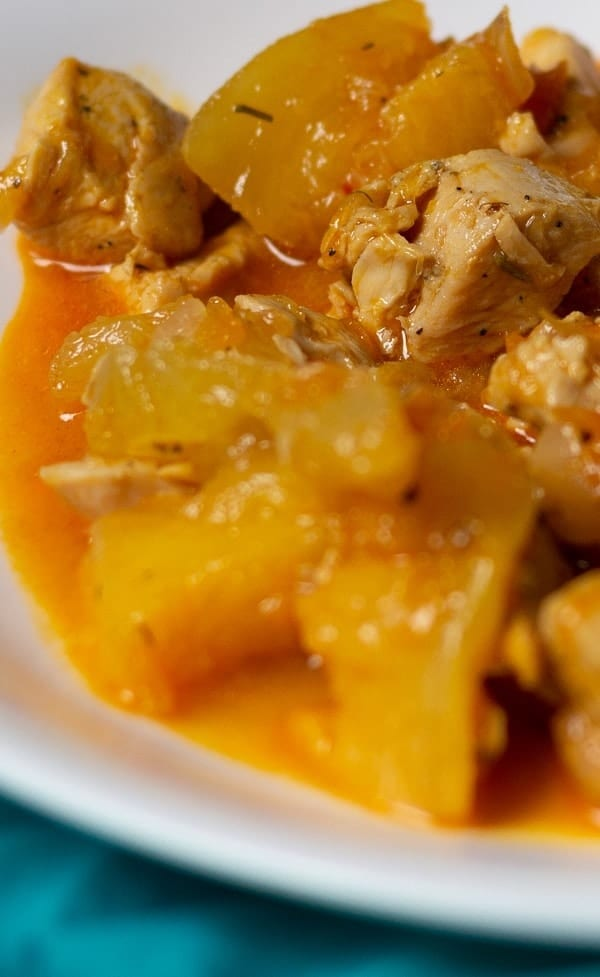 Pressure cooker pork stew with Kabocha squash. Pork shoulder meat with vegetables cooked in a pressure cooker. Japanese Kabocha squash has a nice and strong flavor-sweeter than butternut-and a fluffy texture when cooked. #pressurecooker #instantpot #dinner #pork #stew