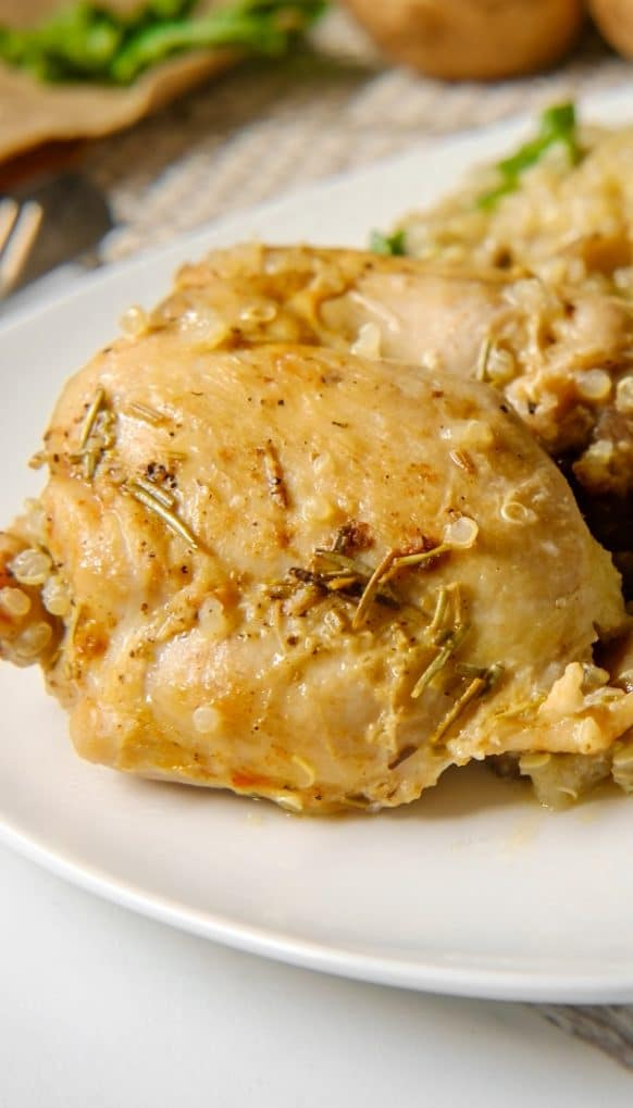 Slow cooker chicken thighs recipe. Chicken thighs with Worcestershire sauce and creamy chicken soup cooked in the slow cooker. #slowcooker #crockpot #dinner #chicken #thighs