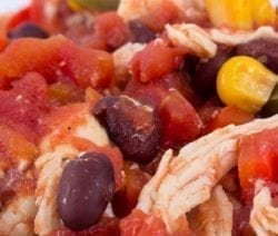Slow cooker fiesta chicken. Chicken breasts with tomatoes and beans cooked in slow cooker. Easy and tasty Mexican soup! #slowcooker #crockpot #dinner #soup #mexican #easy #tasty