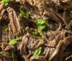 Slow cooker Mississippi roast. Beef chuck roast with spices cooked in a slow cooker. Yummy! #slowcooker #crockpot #dinner #easy #beef #homemade