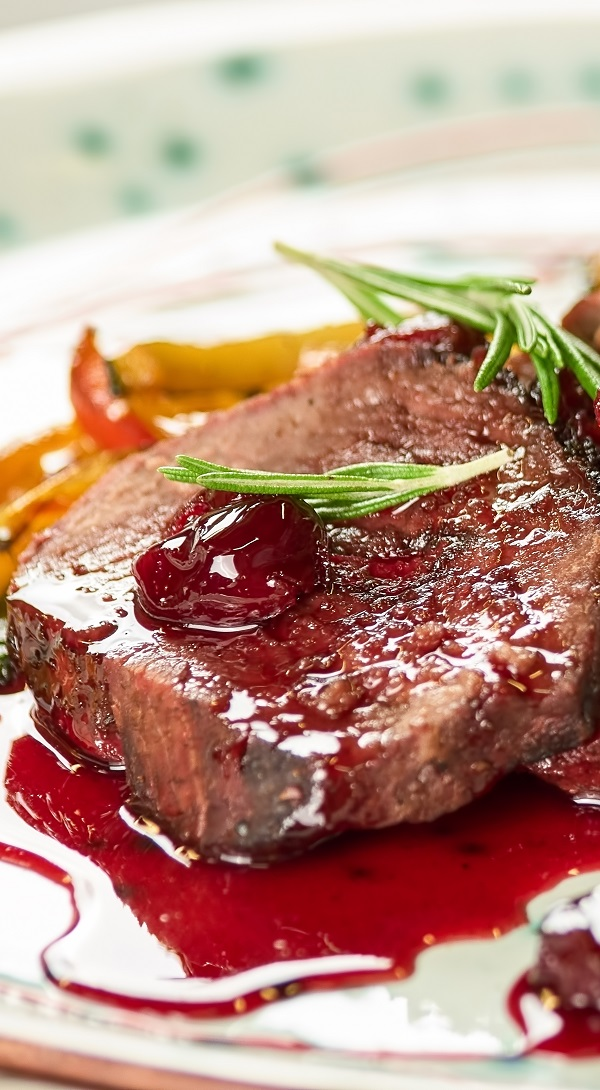 Oven roast veal with cherry sauce. Veal cutlets (chops) roasted in an oven and served with cherry sauce. Very delicious recipe! #oven #roast #veal #dinner #magicskilletrecipes