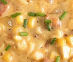 Slow cooker corn chowder. Delicious chowder with Panetta and vegetables cooked in a slow cooker. #slowcooker #crockpot #dinner #corn #chowder #magicskilletrecipes