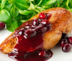 Slow cooker cranberry chicken. Chicken pieces with whole berry cranberry and barbecue sauces cooked in slow cooker. Very delicious! #slowcooker #crockpot #chicken #dinner #recipes #food #cramberry #magicskilletrecipes