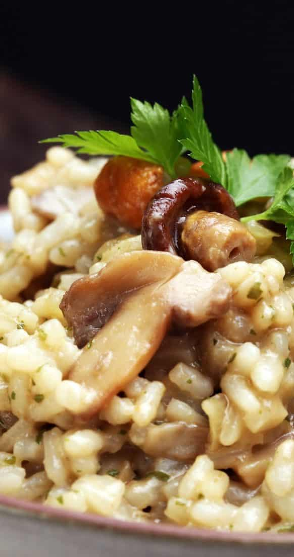 Instant pot creamy risotto with mushrooms. Italian risotto with porcini mushrooms cooked in an electric instant pot. #pressurecooker #instantpot #homemade #easy #risotto #italian #delicious #creamy #yummy #dinner #lunch