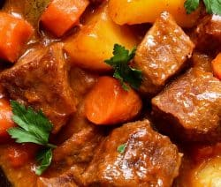 Slow Cooker beef stew Busy Day recipe. Beef and vegetables cooked in the slow cooker. To get a unique taste of beef stew cook on Low 6-8 hours. #slowcooker #crockpot #beef #stew #dinner #vegetables #homemade