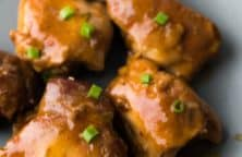 Crock pot honey-garlic chicken thighs recipe. Boneless and skinless chicken thighs with honey, soy and Worcestershire sauces cooked in a crock pot. #slowcooker #crockpot #chicken #dinner #homemade #sweet #yummy