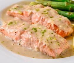 Pressure cooker salmon with creamy mustard sauce. Salmon fillets with creamy mustard sauce cooked in a pressure cooker. #pressurecooker #instantpot #salmon #seafood #dinner #homemade