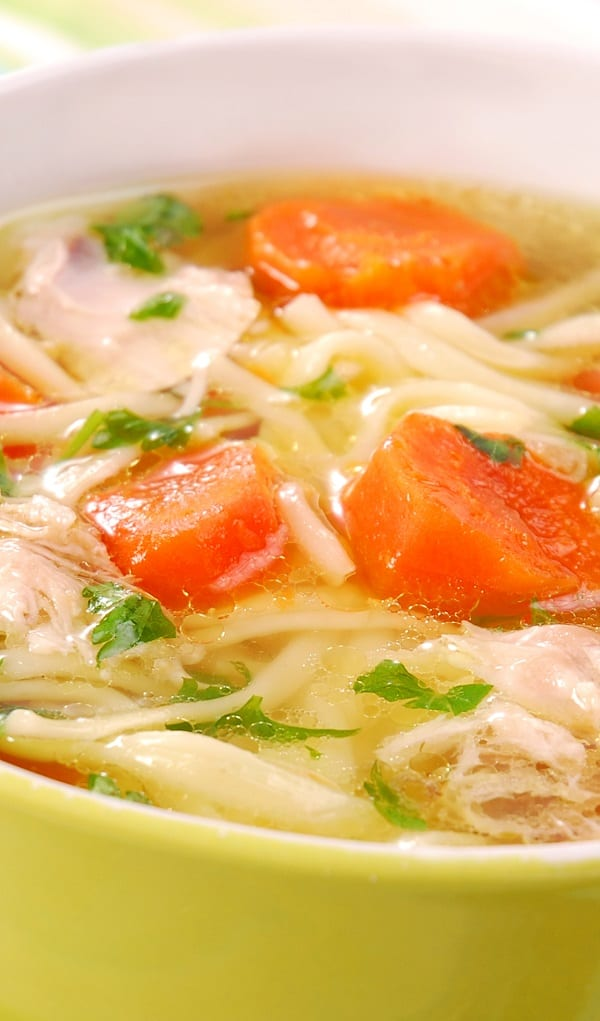 Slow cooker chicken noodle soup recipe. Very easy oriental soup with chicken, noodles, and vegetables cooked in a slow cooker. #slowcooker #crockpot #chicken #soup #dinner #noodle