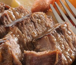 Slow cooker pot roast. Learn how to cook creamy and delicious pot roast in a slow cooker. #slowcooker #crockpot #beef #dinner #recipes #food #magicskilletrecipes