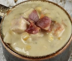 Slow cooker potato corn chowder recipe. This delicious chicken broth-based potato and corn chowder cooked in a slow cooker. #slowcooker #crockpot #potato #soup #chowder #dinner
